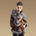 Cool Genuine Pig Leather Coat With Large Fox Fur Collar Women Winter Belt Fur Jacket - Camel