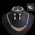 Elegant Wedding Jewelry Sets Gold Plated Bridal Party Crystal Hellow Necklace Earrings Bracelet Ring 4pcs