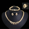 Exaggerated Punk Leopard Woman Jewelry Sets Crystal Gold Plated Party Necklace Earrings Bracelet Ring 4pcs/set