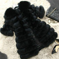 Extre Luxury Genuine Real Whole Fox Fur Coats Fashion Women Medium-long Fur Outerwear - Black