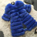 Extre Luxury Genuine Real Whole Fox Fur Coats Fashion Women Medium-long Fur Outerwear - Blue