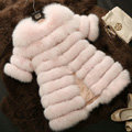 Extre Luxury Genuine Real Whole Fox Fur Coats Fashion Women Medium-long Fur Outerwear - Pink