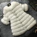 Extre Luxury Genuine Real Whole Fox Fur Coats Fashion Women Medium-long Fur Outerwear - White