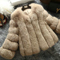 Extre Luxury Genuine Real Whole Fox Fur Coats Fashion Women Short Fur Outerwear - Camel
