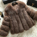 Extre Luxury Genuine Real Whole Fox Fur Coats Fashion Women Short Fur Outerwear - Coffee