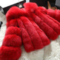 Extre Luxury Genuine Real Whole Fox Fur Coats Fashion Women Short Fur Outerwear - Red