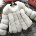 Extre Luxury Genuine Real Whole Fox Fur Coats Fashion Women Short Fur Outerwear - White