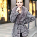 Extreme Luxury Women Long Genuine Rabbit Fur Coats With Fox Fur Collar Warm Slim Outerwear - Grey