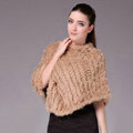 Fashion Delicate knitted Rabbit Fur Shawl Female Party Pullover Women's Triangle Fur Poncho - Camel