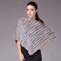 Fashion Delicate knitted Rabbit Fur Shawl Female Party Pullover Women's Triangle Fur Poncho - Grey
