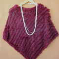 Fashion Fur Poncho knitted Rabbit Fur Shawl Wholesale and Retail Women's Triangle Fur Cape - Grape red