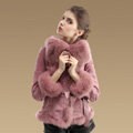 Fashion Genuine Pig Leather Coat With Large Fox Fur Collar Women Winter Belt Fur Jacket - Pink