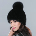 Fashion Genuine Whole Mink Fur Hats With Fox Fur Ball Women Winter Knitted Beanies Cap - Black