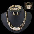 Fashion Women Punk Jewelry Sets Gold Plated Party Crystal Necklace Earrings Bracelet Ring 4pcs