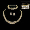 Fashion Squre Crystal Gold Plated Bridal Wedding Jewelry Sets Necklace Earrings Bracelet Ring 4pcs/set