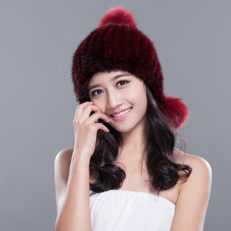 1b5f860905f More images. CODE 0001195224082015Qty 6. NAME Fashion Winter Real Mink Fur  Hat With Fox Fur Pom Poms Women Knitted Beanies Caps ...