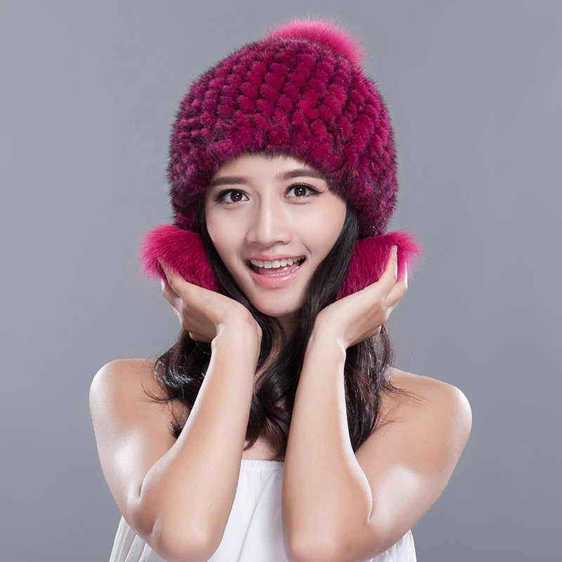 7ec287d2d3594 NAME Fashion Winter Real Mink Fur Hat With Fox Fur Pom Poms Women Knitted  Ear Protector Caps - Rose Black