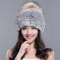 Fashion Winter Real Whole Rabbit Fur Hat With Raccoon Fur Ball Women Knitted Beanies Hat - Grey