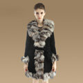 Fashion Women Nature Pig Leather Coat With Large Fox Fur Collar Female Winter Fur Parka - Black Grey