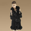 Fashion Women Nature Pig Leather Coat With Large Fox Fur Collar Female Winter Fur Parka - Black