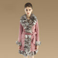 Fashion Women Nature Pig Leather Coat With Large Fox Fur Collar Female Winter Fur Parka - Pink