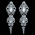 Gorgeous Chandelier Crystal Bridal Earrings White K Plated Long Earrings for Women