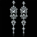 Gorgeous Crystal Bridal Long Drop Earrings Chandelier Earrings for Women Bridal Wedding Accessories
