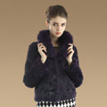 Gorgeous Genuine Rabbit Fur Coat With Fox Fur Collar Fashion Women Warm Fur Jacket - Purple