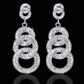 Gorgeous Retro Design Bridal Accessories Silver Plated Brincos Fashion Circle Long Earrings For Women