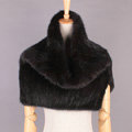 Gorgeous Winter Women Knitted Genuine Mink Fur Shawl Scarf Thick Fur Collars Wraps - Black