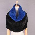 High Grade Knitted Genuine Mink Fur Large Collar Scarf Women Winter Thick Fur Wraps - Black Blue