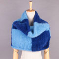 High Grade Knitted Genuine Mink Fur Large Collar Scarf Women Winter Thick Fur Wraps - Blue Square