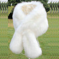 High Quality Faux Mink Fur Scarf Winter Warm Mink Fur Collar Women Fur Shawls Retail and Wholesale - White