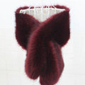 High Quality Faux Mink Fur Scarf Winter Warm Mink Fur Collar Women Fur Shawls Retail and Wholesale - Wine Red