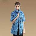 High Quality Natural Rabbit Fur Coat Women Fashion Long Stand Collar Fur Outerwear - Blue