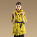 High Quality Natural Rabbit Fur Coat Women Fashion Long Stand Collar Fur Outerwear - Yellow