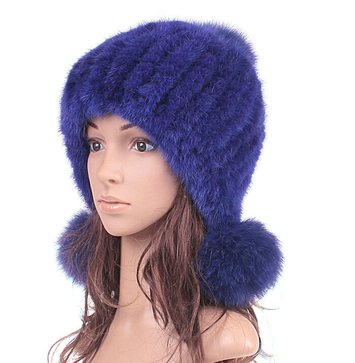 b0f8c329f0d NAME High Quality Real Mink Fur Hat With Fox Fur Balls Women Winter Knitted  Beanies Dome Caps - Blue