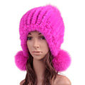 High Quality Real Mink Fur Hat With Fox Fur Balls Women Winter Knitted Beanies Dome Caps - Pure Rose