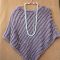 High Quality knitted Rabbit Fur Shawl Female Party Pullover Women's Triangle Rabbit Fur Poncho - Light Purple