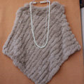 High Quality knitted Rabbit Fur Shawl Female Party Pullover Women's Triangle Rabbit Fur Poncho - Light khaki