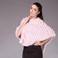 Hot Sale Fur Pashmina Shawls For Female Knitted Rabbit Fur Poncho Pink Bride Wedding Fur Shawl Winter