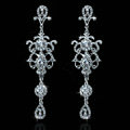 Luxurious Chandelier Crystal Bridal Earrings Silver Floral Long Drop Earrings for Women Wedding Accessories