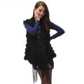 Luxurious Fashion Knitted Real Rabbit Fur Shawl Women's Tassels Pocket Long Fur Scarves Wrap - Black