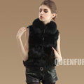 Luxurious Genuine Knitted Fox Fur Waistcoat Fashion Women Short Winter Real Fur Vests - Black