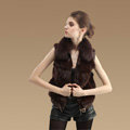 Luxurious Genuine Knitted Fox Fur Waistcoat Fashion Women Short Winter Real Fur Vests - Coffee