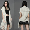 Luxurious Knitted Real Rabbit Fur Long Shawl Fashion Women's Tassels Pocket Fur Vests - Beige