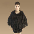 Luxury Fashion Women Genuine Knitted Rabbit Fur Shawl With Raccoon Fur Tassels Poncho - Coffee