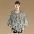 Luxury Fashion Women Genuine Knitted Rabbit Fur Shawl With Raccoon Fur Tassels Poncho - Grey