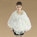 Luxury Fashion Women Genuine Knitted Rabbit Fur Shawl With Raccoon Fur Tassels Poncho - White
