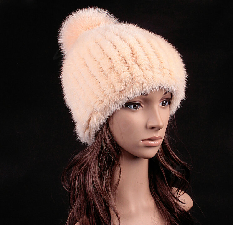0955e96d107 NAME Luxury Genuine Whole Mink Fur Hats With Fox Fur Ball Women Winter  Knitted Beanies - Beige Yellow